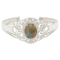 Himalayan Gems Sterling Silver Labradorite Cuff Bangle