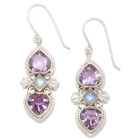 Himalayan Gems Sterling Silver Amethyst & Rainbow Moonstone Earrings