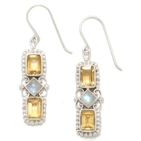 Himalayan Gems Sterling Silver Citrine & Rainbow Moonstone Earrings