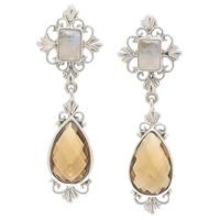 Boucles d'oreille Himalayan Gems en argent sterling ornées de quartz cognac et pierres de lune arc-en-ciel