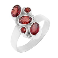 Himalayan Gems Sterling Silver Multi-Garnet Ring