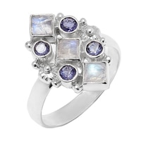 Himalayan Gems Sterling Silver Rainbow Moonstone & Iolite Ring