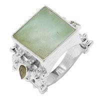 Himalayan Gems Sterling Silver Jade & Peridot Ring