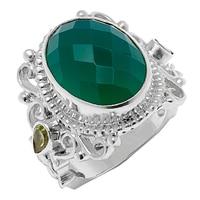 Bague en argent sterling Himalayan Gems avec onyx vert et péridot