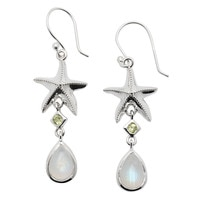 Himalayan Gems Sterling Silver Rainbow Moonstone & Gemstone Starfish Drop Earrings