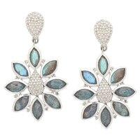 Pendants d'oreilles au motif floral en argent Sterling ornés de gemmes d'Himalayan Gems