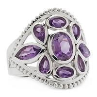 Himalayan Gems Sterling Silver Gemstone Multi-Shape Ring