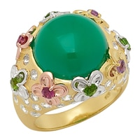 Sincerely Yours, Karen Sterling Silver Yellow Gold Plate Green Onyx & Multi-Gemstone Ring
