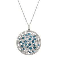 Sincerely Yours, Karen Sterling Silver London Blue & White Topaz Round Pendant with Chain