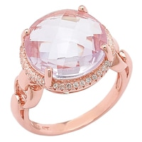 Sincerely Yours, Karen Sterling Silver Rose Gold Plate Pink Amethyst & White Topaz Ring