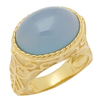 Sincerely Yours, Karen Sterling Silver Yellow Gold Plate Blue Chalcedony Ring