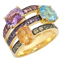 Sincerely Yours, Karen Sterling Silver Multi-Gemstone Triple Row Ring
