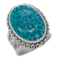 Ottoman Silver Sterling Silver 16 x 12mm Porcelain Filigree Ring