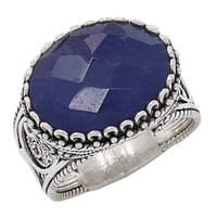 Ottoman Silver Sterling Silver 16x12mm Blue Sapphire Filigree Ring