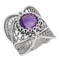 Ottoman Silver Sterling Silver 10mm Amethyst Filigree Ring