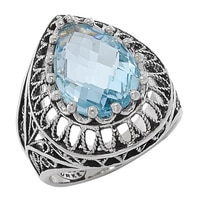 Ottoman Silver Sterling Silver 15x10mm Blue Topaz Filigree Ring
