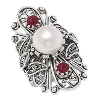 Ottoman Silver Sterling Silver Pearl & Ruby Filigree Ring