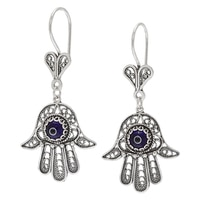 Ottoman Silver Sterling Silver 6mm Blue Hamsa Filigree Earrings