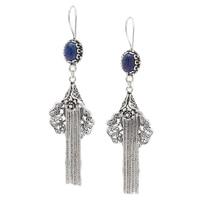Ottoman Silver Sterling Silver Filigree Tassel Gemstone Drop Earrings
