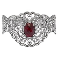 Ottoman Silver Sterling Silver Filigree Gemstone Cuff Bracelet
