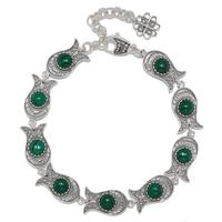 Ottoman Silver Sterling Silver Tulip Filigree Gemstone Bracelet