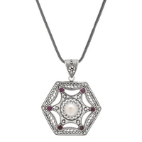 Ottoman Silver Sterling Silver Pearl & Ruby Filigree Pendant with Chain