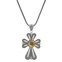 Ottoman Silver Sterling Silver Filigree Cross Pendant with Chain