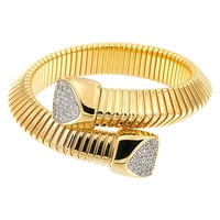 Bracelet tubulaire superposé Toscana Diamonelle en argent sterling plaqué or jaune 14 ct