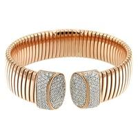 Bracelet-manchette tubulaire Toscana Diamonelle en argent sterling plaqué or rose 14 ct