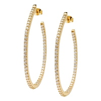 Toscana Diamonelle Sterling Silver Hoop Diamonelle Earrings