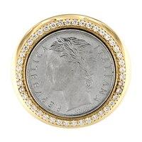Chevalière de deux tonalités et ornée d'une pièce sur argent sterling de la collection Toscana Diamonelle