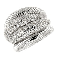 Bague ornée de similidiamants Diamonelle® sur argent sterling rhodié de la collection Toscana Diamonelle