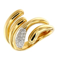 Bague ornée de similidiamants Diamonelle® sur argent sterling plaqué or jaune 14 ct de la collection Toscana Diamonelle
