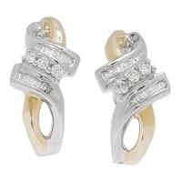Boucles d'oreille ornées de diamants sur or 10 ct de deux tonalités