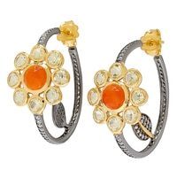 Sterling Silver Yellow Gold Plate & Black Rhodium Carnelian, Lemon & White Zircon Earrings