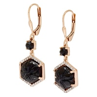Sterling Silver Rose Gold Plate Black Onyx & White Zircon Earrings