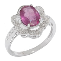 Sterling Silver Ruby & Diamond Ring