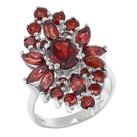 Sigal Style Sterling Silver Floral Gemstone Cocktail Ring