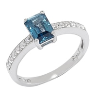 Sigal Style Sterling Silver Octagon Blue Topaz Ring