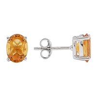 Sigal Style Sterling Silver Madeira Citrine Oval Stud Earrings