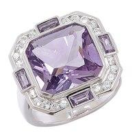 Sterling Silver Gemstone & White Topaz Ring