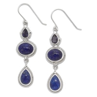 Himalayan Gems Sterling Silver Lapis & Iolite Drop Earrings