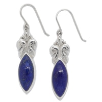 Himalayan Gems Sterling Silver Marquise Shaped Lapis Earrings