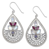 Himalayan Gems Sterling Silver Gemstone Earrings - Rainbow Moonstone, Rhodolite & Iolite