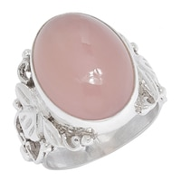 Himalayan Gems Sterling Silver Pink Chalcedony Ring