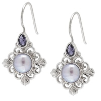 Himalayan Gems Sterling Silver Sky Coloured Pearl & Iolite Earrings