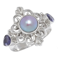 Himalayan Gems Sterling Silver Sky Coloured Pearl & Iolite Ring