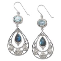 Himalayan Gems Sterling Silver Gemstone Earrings - Labradorite & Blue Topaz