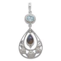 Pendentif Himalayan Gems en argent sterling avec labradorite et topaze bleue