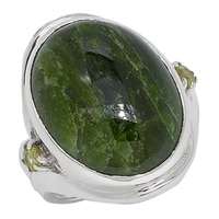 Himalayan Gems Sterling Silver Chrome Diopside & Peridot Ring